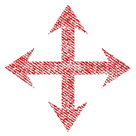 upside: Expand Arrows vector textured icon for overlay watermark stamps. Red fabric vectorized texture. Symbol with scratched design. Red ink rubber seal stamp with fiber textile structure.