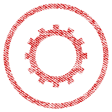 Gear vector textured icon for overlay watermark stamps. Red fabric vectorized texture. Symbol with dust design. Red ink rubber seal stamp with fiber textile structure.
