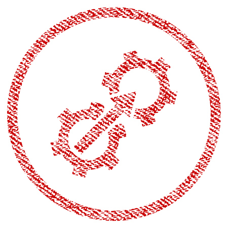 Gear Integration vector textured icon for overlay watermark stamps. Red fabric vectorized texture. Symbol with unclean design. Red ink rubber seal stamp with fiber textile structure. Illustration