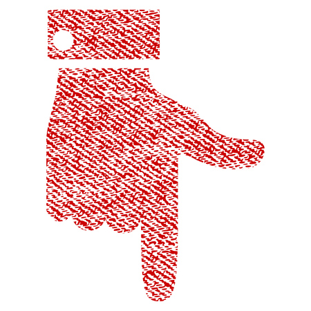 Hand Pointer Down vector textured icon for overlay watermark stamps. Red fabric vectorized texture. Symbol with scratched design. Red ink rubber seal stamp with fiber textile structure.