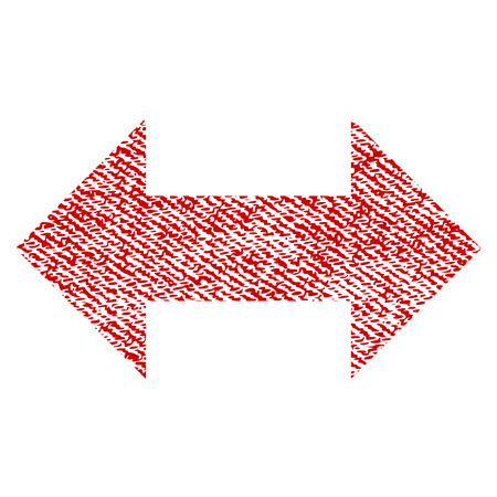 Horizontal Exchange Arrows vector textured icon for overlay watermark stamps. Red fabric vectorized texture. Symbol with unclean design. Red ink rubber seal stamp with fiber textile structure.