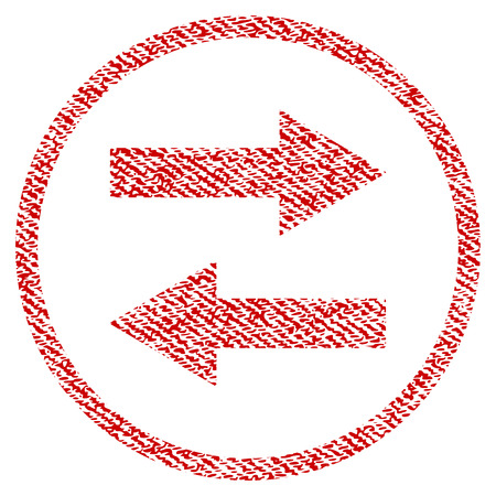 Horizontal Flip Arrows vector textured icon for overlay watermark stamps. Red fabric vectorized texture. Symbol with unclean design. Red ink rubber seal stamp with fiber textile structure.