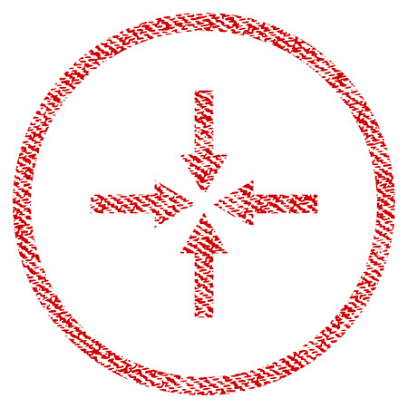 Impact Arrows vector textured icon for overlay watermark stamps. Red fabric vectorized texture. Symbol with dust design. Red ink rubber seal stamp with fiber textile structure. Ilustrace
