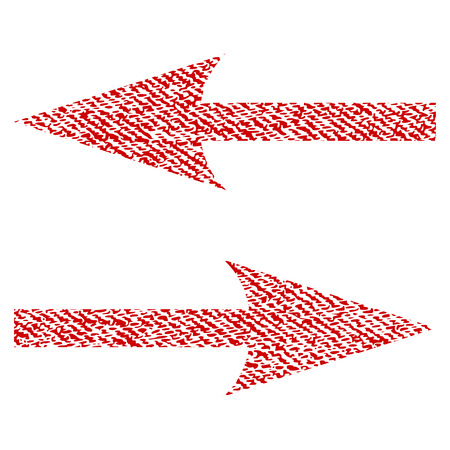 Horizontal Exchange Arrows vector textured icon for overlay watermark stamps. Red fabric vectorized texture. Symbol with scratched design. Red ink rubber seal stamp with fiber textile structure.