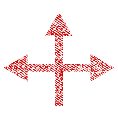 bifurcation: Intersection Directions vector textured icon for overlay watermark stamps. Red fabric vectorized texture. Symbol with scratched design. Red ink rubber seal stamp with fiber textile structure. Illustration