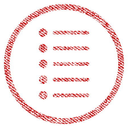 enumerate: Items vector textured icon for overlay watermark stamps. Red fabric vectorized texture. Symbol with dirty design. Red ink rubber seal stamp with fiber textile structure. Illustration