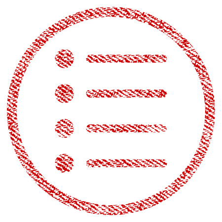 Items vector textured icon for overlay watermark stamps. Red fabric vectorized texture. Symbol with scratched design. Red ink rubber seal stamp with fiber textile structure. Illustration