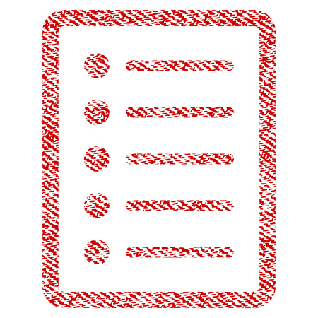 List Page vector textured icon for overlay watermark stamps. Red fabric vectorized texture. Symbol with dust design. Red ink rubber seal stamp with fiber textile structure.