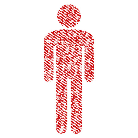 Man vector textured icon for overlay watermark stamps. Red fabric vectorized texture. Symbol with dirty design. Red ink rubber seal stamp with fiber textile structure.