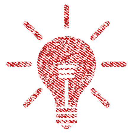 Light Bulb vector textured icon for overlay watermark stamps. Red fabric vectorized texture. Symbol with scratched design. Red ink rubber seal stamp with fiber textile structure. Vetores