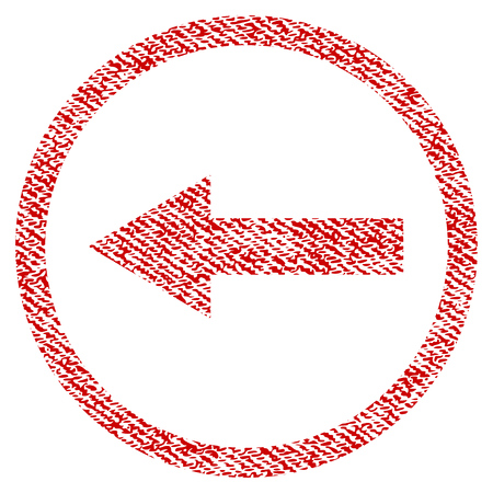 Left Rounded Arrow vector textured icon for overlay watermark stamps. Red fabric vectorized texture. Symbol with dirty design. Red ink rubber seal stamp with fiber textile structure.