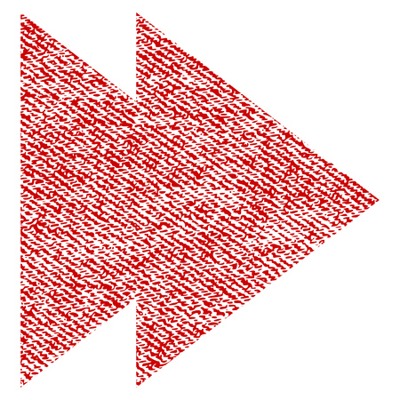 Move Right vector textured icon for overlay watermark stamps. Red fabric vectorized texture. Symbol with unclean design. Red ink rubber seal stamp with fiber textile structure.
