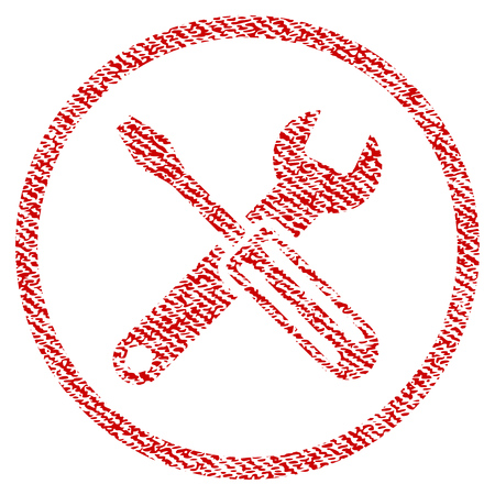 Options vector textured icon for overlay watermark stamps. Red fabric vectorized texture. Symbol with unclean design. Red ink rubber seal stamp with fiber textile structure.