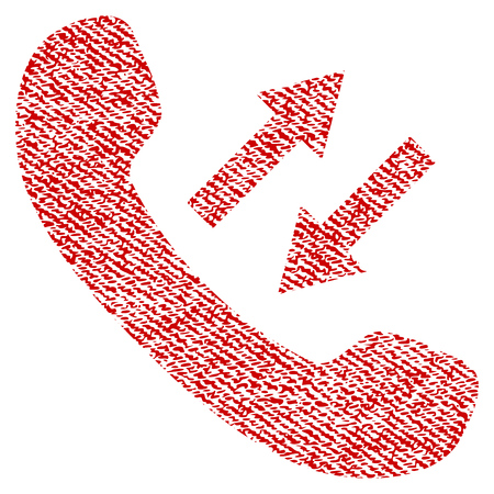 Phone Talking vector textured icon for overlay watermark stamps. Red fabric vectorized texture. Symbol with unclean design. Red ink rubber seal stamp with fiber textile structure. Illustration