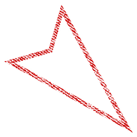 moving down: Pointer Right Down vector textured icon for overlay watermark stamps. Red fabric vectorized texture. Symbol with dust design. Red ink rubber seal stamp with fiber textile structure.