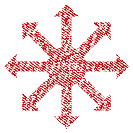 Radial Arrows vector textured icon for overlay watermark stamps. Red fabric vectorized texture. Symbol with dirty design. Red ink rubber seal stamp with fiber textile structure.