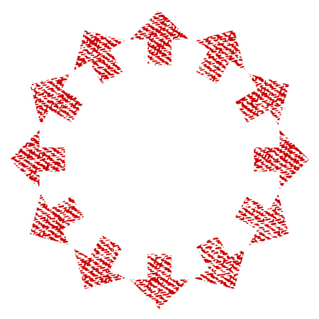 Radial Arrows vector textured icon for overlay watermark stamps. Red fabric vectorized texture. Symbol with unclean design. Red ink rubber seal stamp with fiber textile structure. Illustration