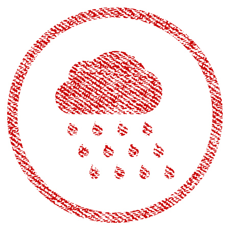 Rain Cloud vector textured icon for overlay watermark stamps. Red fabric vectorized texture. Symbol with scratched design. Red ink rubber seal stamp with fiber textile structure.