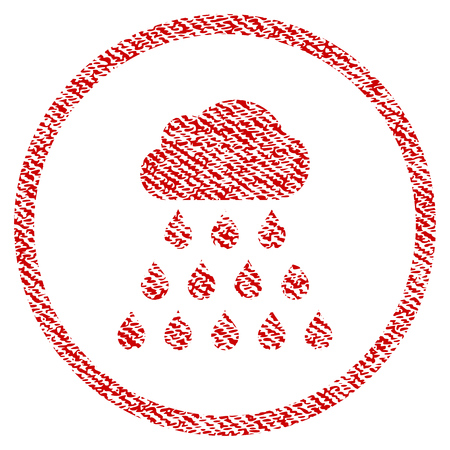 Rain Cloud vector textured icon for overlay watermark stamps. Red fabric vectorized texture. Symbol with dust design. Red ink rubber seal stamp with fiber textile structure. Illustration