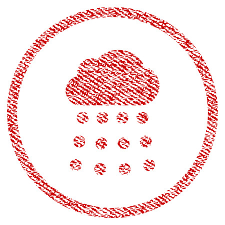 Rain Cloud vector textured icon for overlay watermark stamps. Red fabric vectorized texture. Symbol with dirty design. Red ink rubber seal stamp with fiber textile structure. Ilustrace