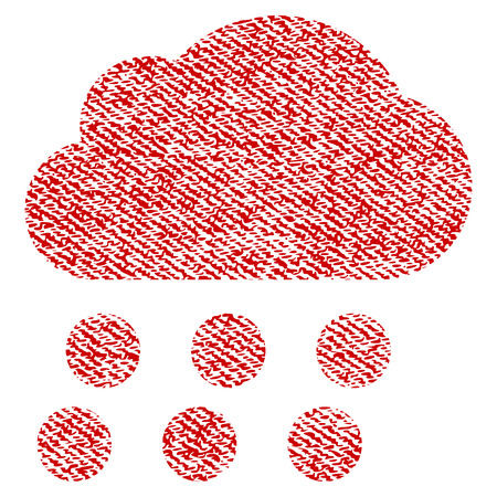 dust cloud: Rain Cloud vector textured icon for overlay watermark stamps. Red fabric vectorized texture. Symbol with dust design. Red ink rubber seal stamp with fiber textile structure. Illustration