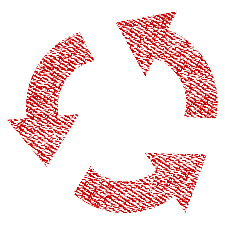 Recycle vector textured icon for overlay watermark stamps. Red fabric vectorized texture. Symbol with scratched design. Red ink rubber seal stamp with fiber textile structure.