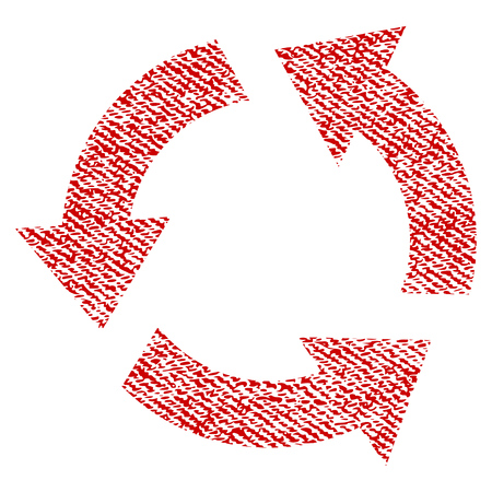 Recycle vector textured icon for overlay watermark stamps. Red fabric vectorized texture. Symbol with unclean design. Red ink rubber seal stamp with fiber textile structure.
