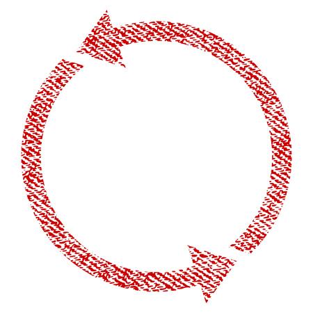 Recycler l'icône de vecteur texturé pour les timbres de filigrane de superposition. Texture vectorisée de tissu rouge. Symbole avec la conception de la poussière. Timbre de joint en caoutchouc encre rouge avec structure textile en fibre.