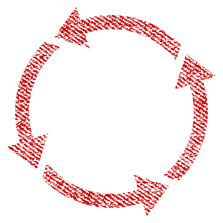 utilization: Recycle vector textured icon for overlay watermark stamps. Red fabric vectorized texture. Symbol with dust design. Red ink rubber seal stamp with fiber textile structure.