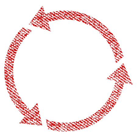 Recycle vector textured icon for overlay watermark stamps. Red fabric vectorized texture. Symbol with dirty design. Red ink rubber seal stamp with fiber textile structure.