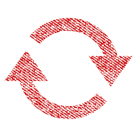 Refresh vector textured icon for overlay watermark stamps. Red fabric vectorized texture. Symbol with unclean design. Red ink rubber seal stamp with fiber textile structure.