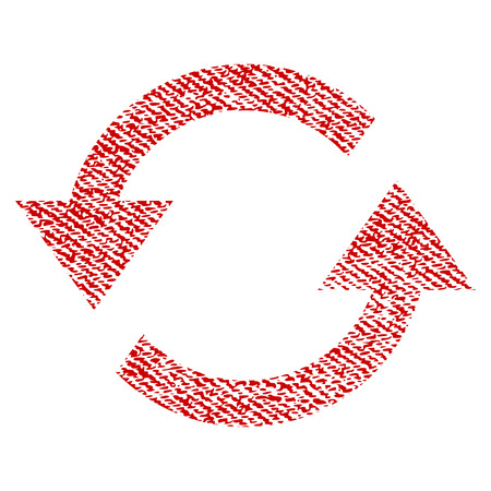 Refresh Arrows vector textured icon for overlay watermark stamps. Red fabric vectorized texture. Symbol with dust design. Red ink rubber seal stamp with fiber textile structure. Çizim