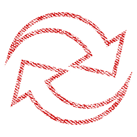 Refresh Arrows vector textured icon for overlay watermark stamps. Red fabric vectorized texture. Symbol with scratched design. Red ink rubber seal stamp with fiber textile structure. Illustration