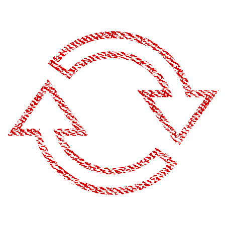Refresh Arrows vector textured icon for overlay watermark stamps. Red fabric vectorized texture. Symbol with dust design. Red ink rubber seal stamp with fiber textile structure. Illustration