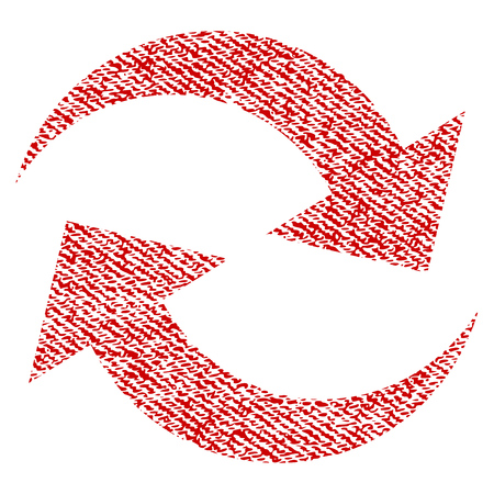 Refresh Arrows vector textured icon for overlay watermark stamps. Red fabric vectorized texture. Symbol with dirty design. Red ink rubber seal stamp with fiber textile structure. Illustration