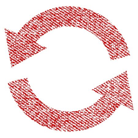 Refresh vector textured icon for overlay watermark stamps. Red fabric vectorized texture. Symbol with dust design. Red ink rubber seal stamp with fiber textile structure.