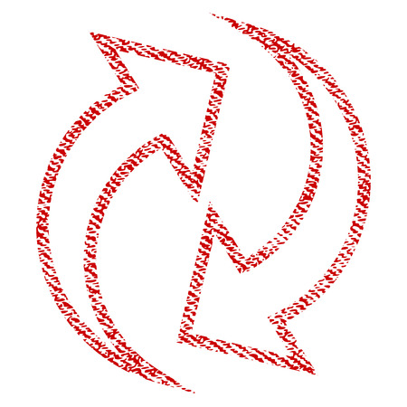 Refresh Arrows vector textured icon for overlay watermark stamps. Red fabric vectorized texture. Symbol with unclean design. Red ink rubber seal stamp with fiber textile structure.