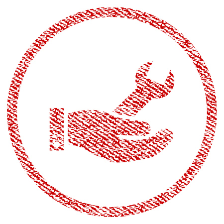 Repair Service vector textured icon for overlay watermark stamps. Red fabric vectorized texture. Symbol with dirty design. Red ink rubber seal stamp with fiber textile structure. Illustration