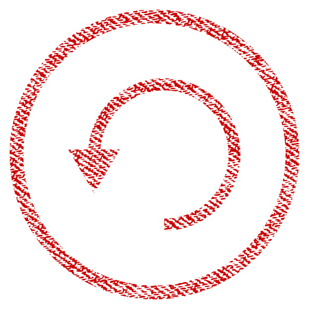 Rotate CCW vector textured icon for overlay watermark stamps. Red fabric vectorized texture. Symbol with scratched design. Red ink rubber seal stamp with fiber textile structure. Illustration