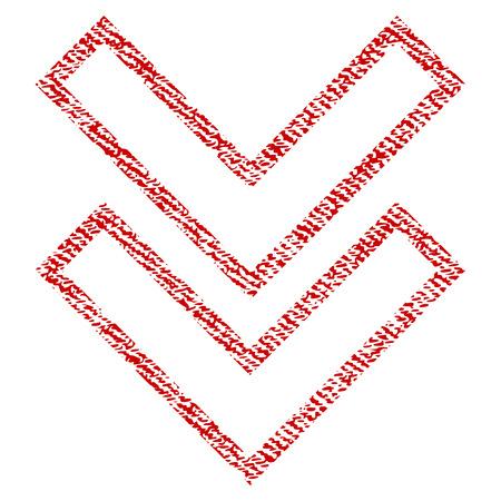 오버레이 워터 마크 스탬프에 대 한 벡터 질감 된 아이콘을 아래로 이동합니다. 빨간색 패브릭 vectorized 질감입니다. 먼지 디자인 기호입니다. 섬유 섬유 구조와 빨간 잉크 고무 인감 스탬프. 스톡 콘텐츠 - 73444325