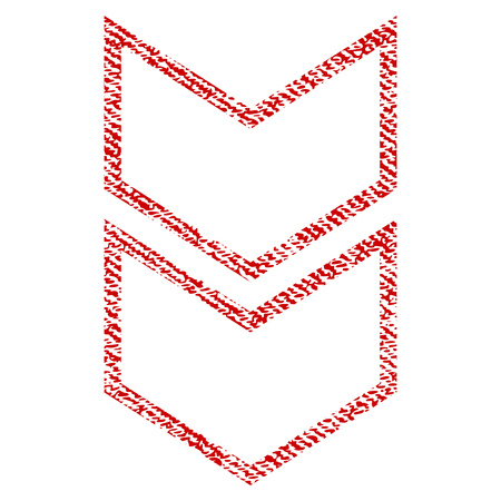 Shift Down vector textured icon for overlay watermark stamps. Red fabric vectorized texture. Symbol with dust design. Red ink rubber seal stamp with fiber textile structure. Illustration