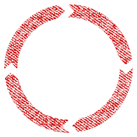 Rotation vector textured icon for overlay watermark stamps. Red fabric vectorized texture. Symbol with dirty design. Red ink rubber seal stamp with fiber textile structure.