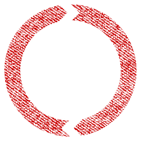 Rotation vector textured icon for overlay watermark stamps. Red fabric vectorized texture. Symbol with scratched design. Red ink rubber seal stamp with fiber textile structure.