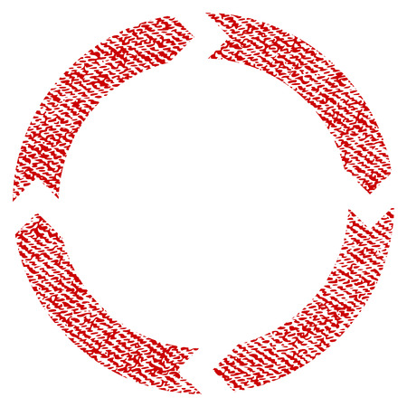 Rotation vector textured icon for overlay watermark stamps. Red fabric vectorized texture. Symbol with dust design. Red ink rubber seal stamp with fiber textile structure. Illustration