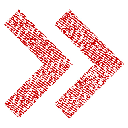 Shift Right vector textured icon for overlay watermark stamps. Red fabric vectorized texture. Symbol with dust design. Red ink rubber seal stamp with fiber textile structure.