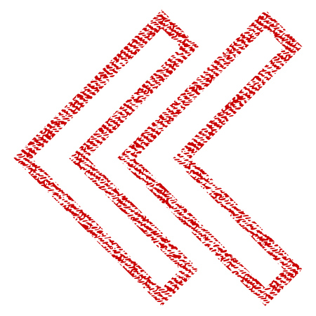 Shift Left vector textured icon for overlay watermark stamps. Red fabric vectorized texture. Symbol with dirty design. Red ink rubber seal stamp with fiber textile structure. Illustration
