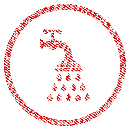 Shower Tap vector textured icon for overlay watermark stamps. Red fabric vectorized texture. Symbol with dirty design. Red ink rubber seal stamp with fiber textile structure. Illustration