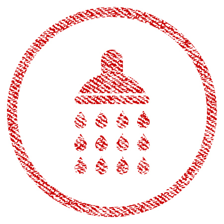 Shower vector textured icon for overlay watermark stamps. Red fabric vectorized texture. Symbol with dirty design. Red ink rubber seal stamp with fiber textile structure.