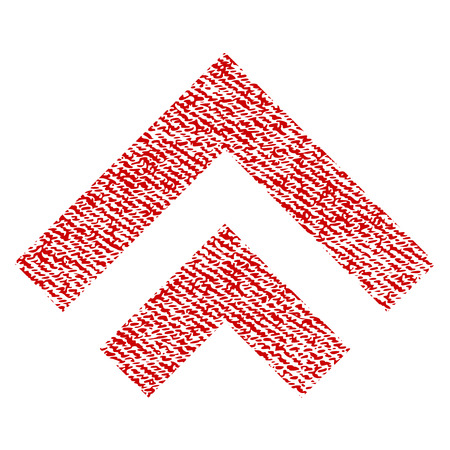 Shift Up vector textured icon for overlay watermark stamps. Red fabric vectorized texture. Symbol with unclean design. Red ink rubber seal stamp with fiber textile structure.