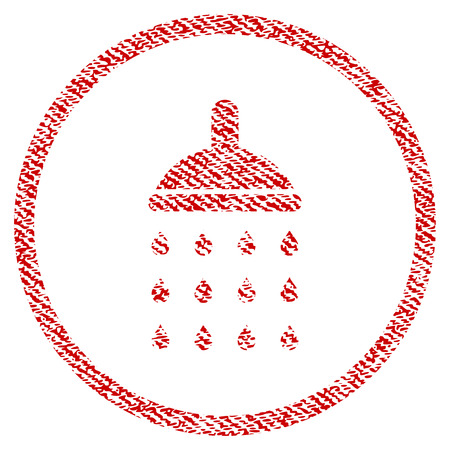 Shower vector textured icon for overlay watermark stamps. Red fabric vectorized texture. Symbol with dust design. Red ink rubber seal stamp with fiber textile structure.